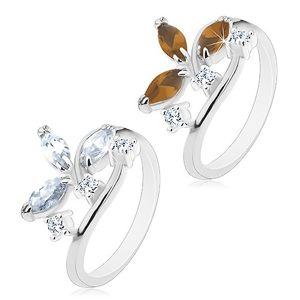 Prsten ve stříbrném odstínu - větší zrníčkovité zirkony a čiré zirkonky - Velikost: 49, Barva: Čirá