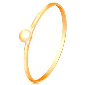 Prsten ve žlutém 14K zlatě  - drobná lesklá kulička, tenká ramena - Velikost: 55
