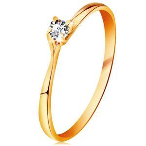 Prsten ve žlutém 14K zlatě - třpytivý čirý briliant v lesklém vyvýšeném kotlíku - Velikost: 61