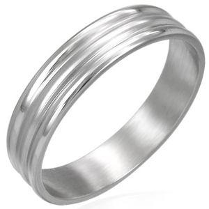 Prsten z chirurgické oceli 2 širší pásky - Velikost: 64