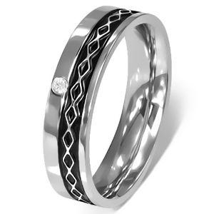 Prsten z chirurgické oceli - Keltský design, čirý zirkon - Velikost: 49
