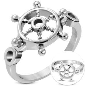 Prsten z chirurgické oceli stříbrné barvy, kruhové lesklé kormidlo - Velikost: 69