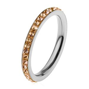 Prsten z chirurgické oceli stříbrné barvy, zářivé zirkonky ve světle hnědém odstínu - Velikost: 49