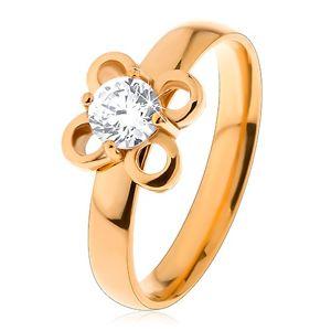 Prsten z chirurgické oceli ve zlatém odstínu, kvítek s čirým zirkonem - Velikost: 52