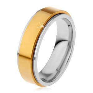 Prsten z chirurgické oceli, vyvýšený otáčivý pás zlaté barvy, úzké okraje - Velikost: 72