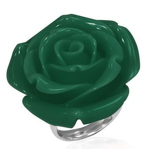 Prsten z chirurgické oceli - zelená růže, pryskyřice - Velikost: 52