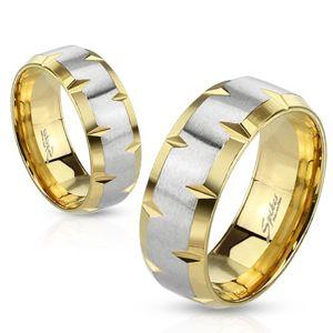 Prsten z oceli 316L, zlatý a stříbrný odstín, zářezy na okrajích, 6 mm - Velikost: 54