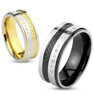 """Prsten z oceli stříbrno-zlaté barvy, šachovnicový vzor, """"Forever Love"""", 6 mm - Velikost: 52"""