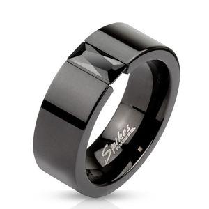 Prsten z oceli v černé barvě - blýskavý černý zirkon, 8 mm - Velikost: 62