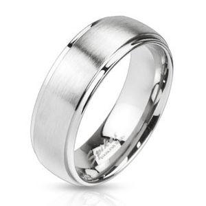 Prsten z oceli ve stříbrném barevném odstínu - matný proužek uprostřed, 6 mm - Velikost: 70