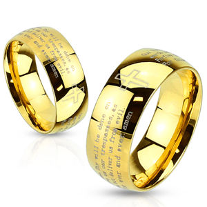 Prsten z oceli zlaté barvy - modlitba otčenáš a křížek, 8 mm - Velikost: 65