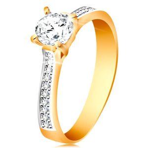 Prsten ze 14K zlata - blýskavý kulatý zirkon čiré barvy, zirkonová ramena - Velikost: 56