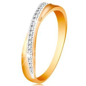 Prsten ze 14K zlata - překřížená hladká a třpytivá linie z čirých zirkonků - Velikost: 54