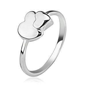 Prsten ze stříbra 925, asymetrické a symetrické srdce - Velikost: 51
