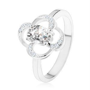 Prsten ze stříbra 925, blyštivý obrys květu s oválným zirkonem čiré barvy - Velikost: 57