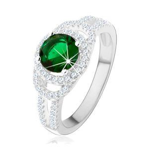 Prsten ze stříbra 925, dvojitá třpytivá kontura, zelený kulatý zirkon - Velikost: 52