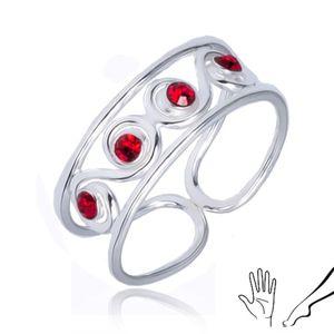 Prsten ze stříbra 925 - esíčkový vzor s červenými kamínky