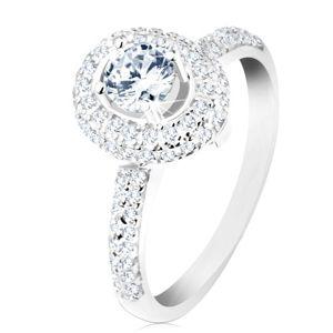 Prsten ze stříbra 925, lesklá ramena, kulatý čirý zirkon, třpytivý oválný lem - Velikost: 50