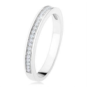 Prsten ze stříbra 925, vodorovná linie čirých zirkonů, gravírované kuličky - Velikost: 49