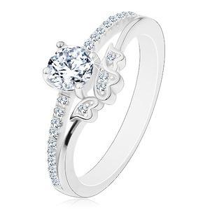 Prsten ze stříbra 925 - zásnubní, čirý zirkon a třpytivá ramena, srdíčka - Velikost: 53