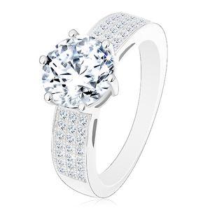 Prsten ze stříbra 925 - zásnubní, širší zirkonová ramena, velký kulatý zirkon - Velikost: 50