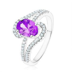 Prsten ze stříbra 925, zirkon tanzanitové barvy, slzičkovité obrysy - Velikost: 59
