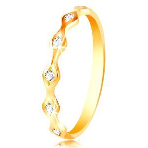 Prsten ze žlutého 14K zlata - lesklá zrnka se vsazenými zirkony čiré barvy - Velikost: 58