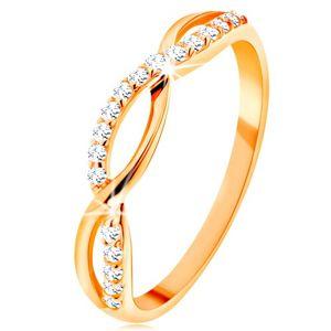 Prsten ze žlutého 14K zlata - propletené vlnky - hladká a zirkonová - Velikost: 49