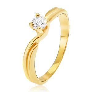 Prsten ze žlutého 14K zlata - rozdvojená ramena, kulatý kamínek v kotlíku - Velikost: 54