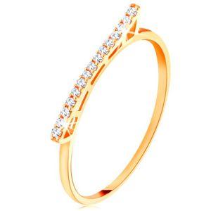 Prsten ze žlutého 14K zlata - vyvýšená třpytivá vlnka  se zirkonky - Velikost: 52