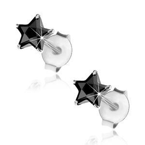 Puzetové náušnice - stříbro 925, černá zirkonová hvězdička, 5 mm