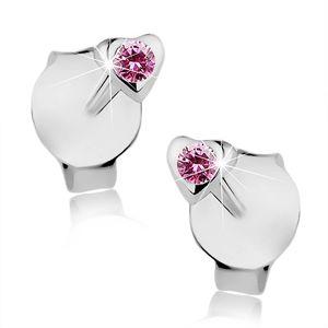 Puzetové náušnice, stříbro 925, drobné srdíčko, růžový krystalek Swarovski