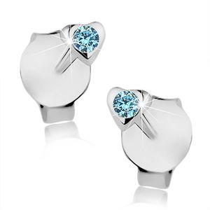 Puzetové náušnice, stříbro 925, lesklé vypouklé srdíčko, modrý krystalek