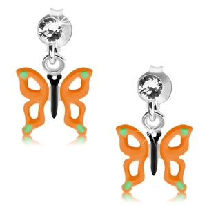 Puzetové náušnice, stříbro 925, motýl s oranžovými křídly, výřezy, krystal