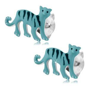 Puzetové náušnice, stříbro 925, světle modrý tygr s černými proužky