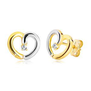 Puzetové náušnice ve 14K zlatě - dvoubarevná kontura srdce se zirkonkem