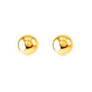Puzetové náušnice ve žlutém 9K zlatě - lesklé hladké kuličky, 5 mm