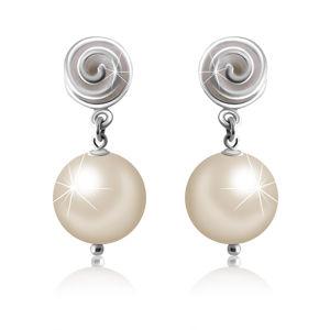 Puzetové stříbrné 925 náušnice - linie spirály, kulička v barvě perleti