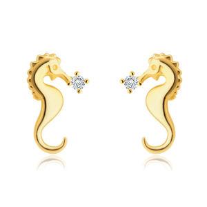 Puzetové zlaté 585 náušnice - motiv mořského koníka, třpytivý kulatý zirkon