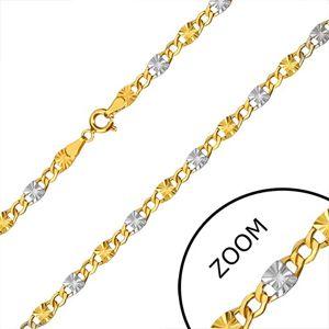 Řetízek z kombinovaného zlata 585 - očka se zářezy, šestiúhelníková očka, 500 mm
