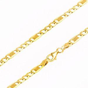 Řetízek ze žlutého 14K zlata - tři očka a jedno delší s mřížkou, 500 mm