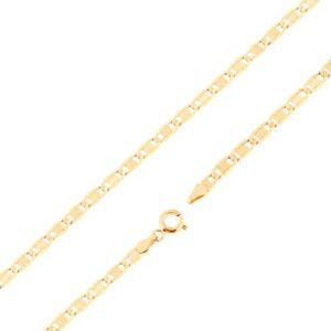 Řetízek ze žlutého 14K zlata - větší ploché články, zářezy, obdélník, 450 mm