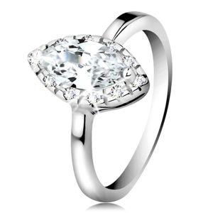 Rhodiovaný prsten, stříbro 925 - čiré zirkonové zrnko s třpytivým lemem - Velikost: 54