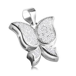 Rhodiovaný stříbrný přívěsek 925 v podobě motýla, drobné čiré zirkony
