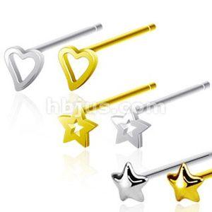 Rovný piercing do nosu, stříbro 925, různé barvy a tvary hlaviček - Tvar hlavičky: Hvězda, Barva piercing: Zlatá