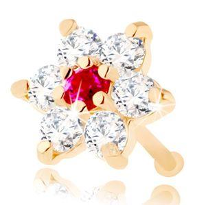 Rovný piercing do nosu ze žlutého 14K zlata - kvítek ze zirkonů a rubínu