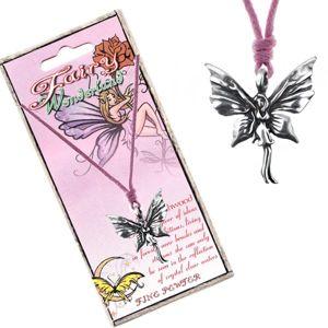Růžová šňůrka na krk a kovový přívěsek stojící motýlí víly