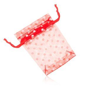 Sáček na dárek, poloprůhledný, červená barva, bílé puntíky
