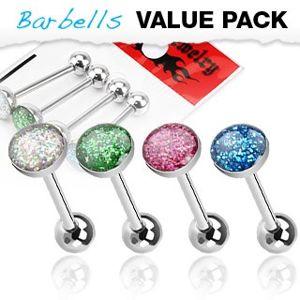 Sada ocelových barbellů do jazyka - polokoule s barevnými glitry