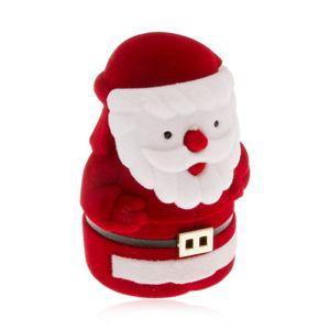 Sametová krabička na prsten, červenobílá postava Mikuláše